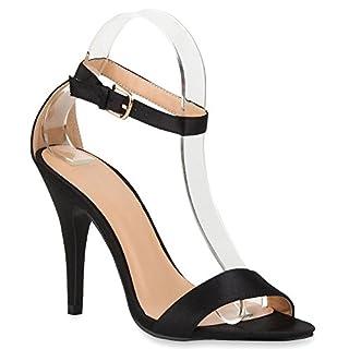 Elegante Damen Sandaletten High Heels Braut Party Animal Print Plateau Schleifen Abschlussball Schuhe 66703 Schwarz 40 | Flandell®
