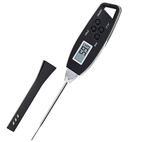 MerryDate Thermomètre de Cuisson,Thermomètre de Cuisine Numérique,4 Secondes Thermomètre Instantané avec Sonde Longue pour Nouriture, Viande, Huile, Lait, Vin, BBQ et Eau Chaude. (Noir)