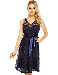 Spitzenkleid mit Satinband Abendkleid aus Spitze Cocktailkleid Ballkleid