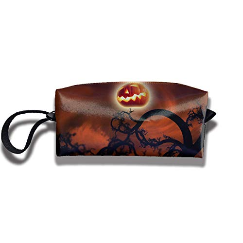 Fabric Cosmetic Bags Travel Makeup Case Happy Halloween Pumpkin Moon Unique Lazy Organizer Multi-Functional Storage Bags
