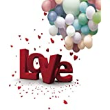 A.Monamour Wedding Theme Valentin's Day Flower Love Letter Heart Print 5x7ft Photography Backdrops LOVE Letters Balloons Flower Petals