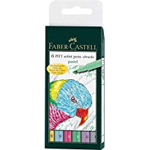 Faber-Castell 167163 - Tuschestift Pitt artist pen Pastel, 6er Packung, Stärke: B