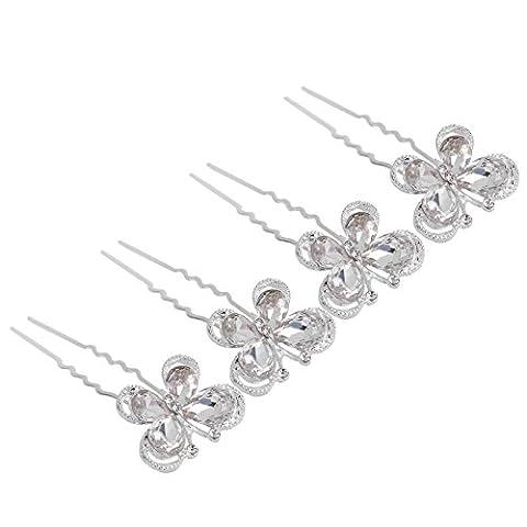 Yantu 20pcs Clear Crystal Rhinestone Diamante Hair Pins Wedding Bridal Prom(Butterfly)