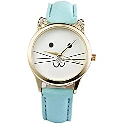 Mallom® Fashion Neutral Diamond Lovely Cats Face Quartz Watch Blue