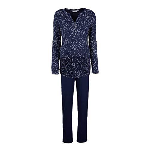 Still Pyjama blau für Schwangerschaft und Stillzeit