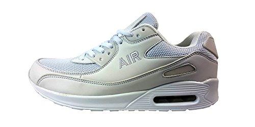 Scarpe da corsa, da uomo, stile casual, chiusura con i lacci, scarpe sportive per ragazzi, ideali da usare in palestra e per passeggiare White