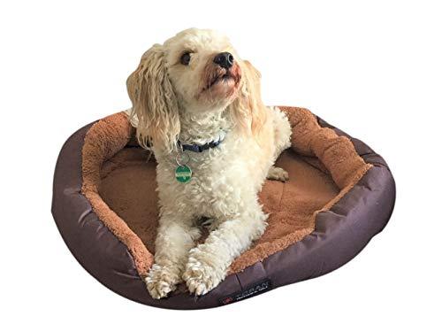 Hundebett/Katzenbett Größe L 60cm Durchmesser mit Wendekissen braun/beige mit Polster waschbar, Fleece Oxfordgewebe super komfortabel und robust