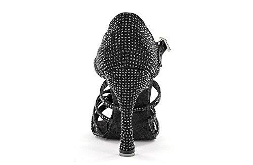 Scarpa da Ballo Limited Edition Andrea Cobos Gomez in Raso Nero con Listini Incrociati, 5 Fasce con 5 nodini autoregolabili, Tacco 10 cm Nero