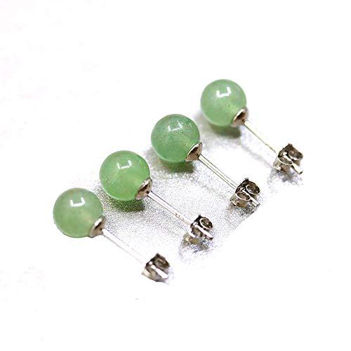 Ouken giada verde naturale di argento sterling rotonda orecchini di perline per le donne 1 pc