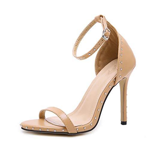 Women es Fashion Sandalen, 2019 European and American Women ' S Sandalen, New Fish Mouth, Rivets, A Word Buckle with Fine Super High Heels Buckle Womens High Heel