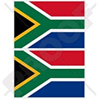 """SOUTH AFRICA South African Flag 3"""" (75mm) Vinyl Bumper Stickers, Decals x2"""