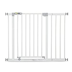 Hauck Open N Stop stair gate including 21 cm extension, gate guard for children, 96 - 101 cm, without drilling, White Bettacare Pressure Fitted White Metal Gate Double Locking Mechanism 4