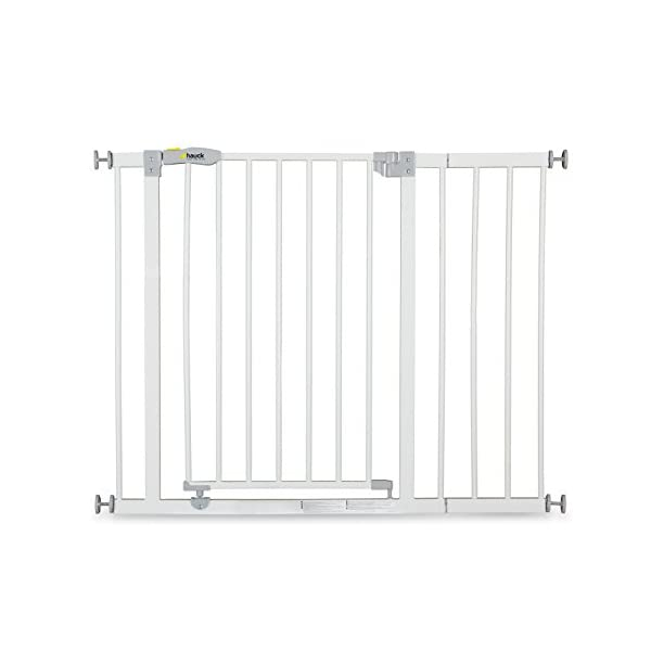 Hauck Open N Stop stair gate including 21 cm extension, gate guard for children, 96 - 101 cm, without drilling, White Hauck Easy to fix Locking mechanism for double safety Opens to both sides 1