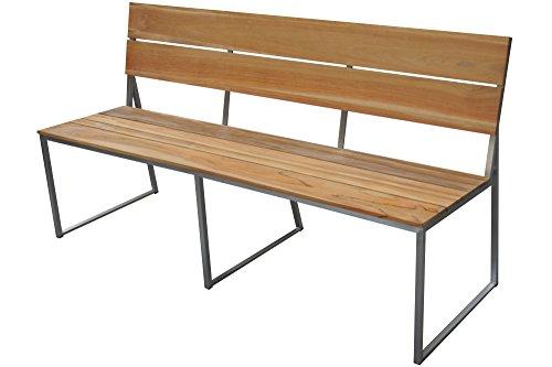 OUTFLEXX stilvolle Gartenbank aus rostfreiem Edelstahl und FSC-Teakholz Sitzfläche in natur, ca. 160x83cm, hochwertige Bank aus Holz für 3 Personen in modernem Design, wetterfest und...