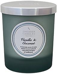 Decoragloba SCC721 - Vela con vaso de cristal, cera vegetal con esencia vanilla y coconut, 7,5 x 8,5 cm, color gris