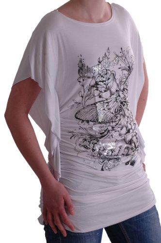 Eyecatch - Tristan Schmetterling Damen Top Oberteil mit hübschem Grafik Druck White