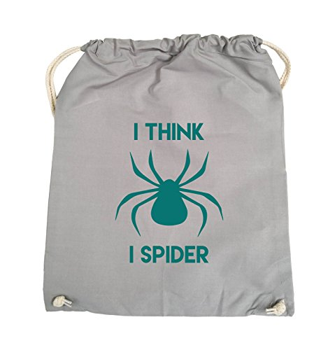 Comedy Bags - I THINK I SPIDER - Turnbeutel - 37x46cm - Farbe: Schwarz / Pink Hellgrau / Tuerkis