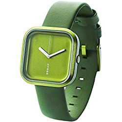 Hygge Väri - Forrest Green Unisex Quartz Watch with Green Dial Analogue Display and Green Leather Strap HE-02-075