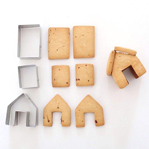 Hergon 3PCS Weihnachten House Ausstecher-Set, Edelstahl Cookie Mould