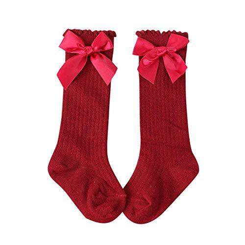 FOONEE Baby Mädchen Socken, Baumwolle Prinzessin Niedlichen Bogen Kinder Kniehohe Lange Socken für Baby Mädchen Kleinkind Kinder Kinder