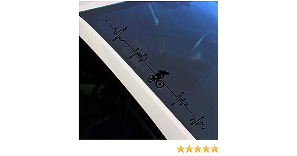 Finest Folia Frontscheibenaufkleber Sticker Selbstklebend Aufkleber Für Auto Scheibe Frontscheibe Heckscheibe Bike Biker Fahrrad Fs108 Schwarz Glanz Innenklebend Auto