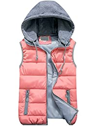 74bbb1f91 OCHENTA Women Quilted Zip Gilet Hooded Sleeveless High Neck Vest Jacket