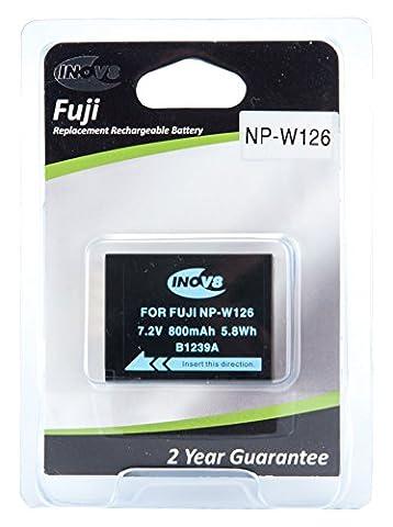 Inov8 Replacement Lithium Digital Camera Battery R-C-B Fuji NP-W126, NP W126, NPW126, 800mAh 7.2V (Pack of