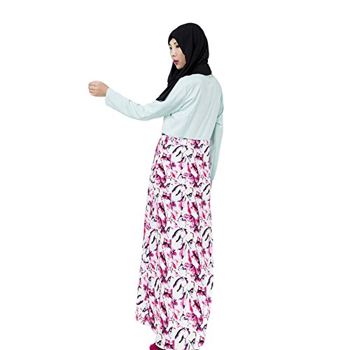 Meijunter Femme Musulman Print Dress Middle East Kaftan Abaya Arab Dubai Slim Robe blue