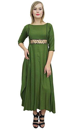 Bimba Damen Zari gesticktes Kleid Rayon grüne Lange Partei-Abnutzungs-Maxi-Kleider-54