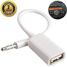 Aux to USB Adapter 3.5mm Macho Aux Audio Jack Enchufe a USB 2.0 Hembra Convertidor Cable Cable Convertidor para Coche Blanco de Oxsubor (CAR NEED DECODE FUNCTION)