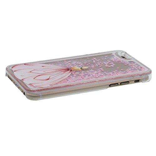 """iPhone 6S Plus étui, Beau Écoulement Étoiles - Beauté Fille Peinture - Haute Clair Transparent Dur PC Liquide Eau Style Coque de Protection Case Anti Choc pour Apple iPhone 6 Plus 6S Plus 5.5"""" Rose"""