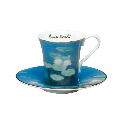 Goebel 67021162 - Taza de café con platillo, diseño de flores de Claude Monet