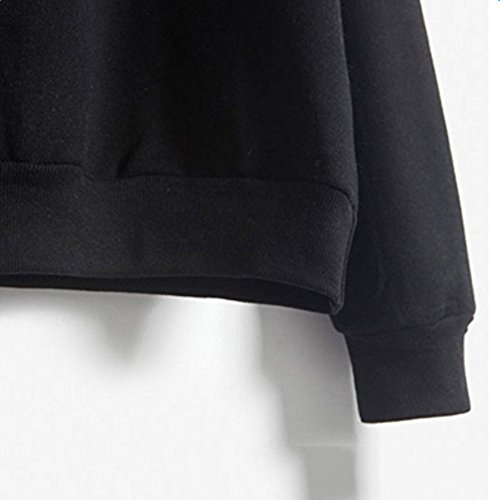 ESHOO Femme Casual Sweat-shirts Pull T-shirts Hiver Tops à Manches Longues Noir
