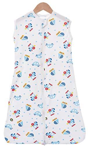 Chilsuessy Sommerschlafsack Baby Schlafsack Kleine Kinder Schlafanzug ohne Ärmel für Sommer und Frühling 100% Baumwolle (90/Koerpergroesse 90-105cm, Cartoon Fahrzeug) (Schlafanzüge Kleine Kind)