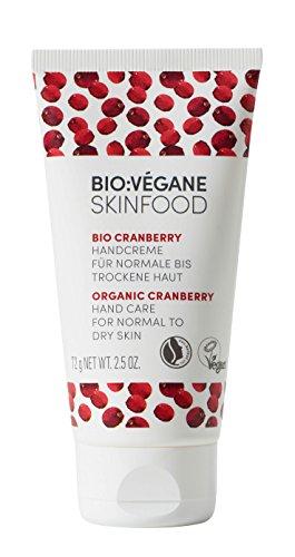 BIO:VÉGANE SKINFOOD Bio Cranberry - Handcreme für normale bis trockene Haut, vegan, NATRUE-zertifiziert, Creme speziell für feuchtigkeitsarme Haut, 2er Pack (2 x 75 ml)
