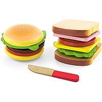 VIGA - Pack de Hamburguesa y sándwich de Juguete - Madera