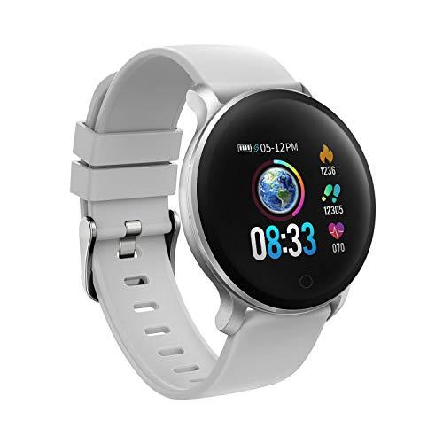 moreFit Vogue Smartwatch Cardiofrequenzimetro Sport Braccialetto Contapassi IP68 Impermeabile Orologio Fitness Tracker da GPS Pedometro Polso Uomo Donna Grigio Nero