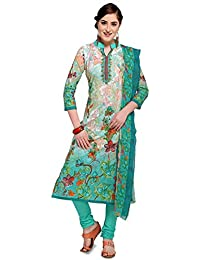 Kanchnar Women's Cotton Green and Cream Unstitched Salwar Suit