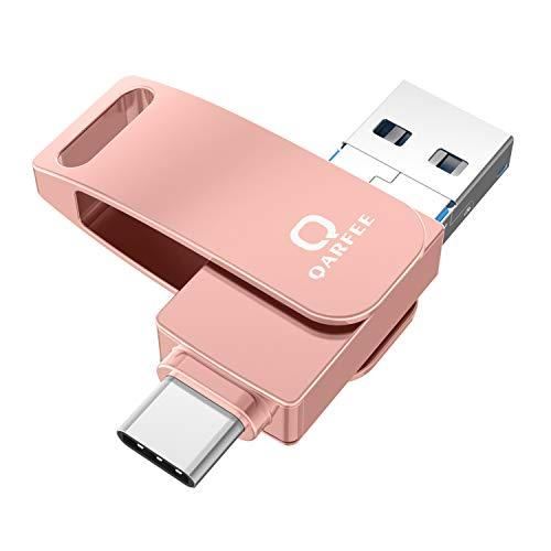 Flash Speichererweiterung 32GB USB Stick USB 3.0 Externer Speicherstick Flash Laufwerk für Andriod Apple Mac Laptop Tablet und PC mit OTG USB C/Type C/Micro USB/ (Orangerosa)