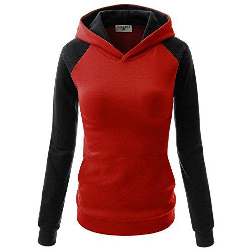 Hannea Casual Long Sleeve Color Block Pocket Hoodie for Women