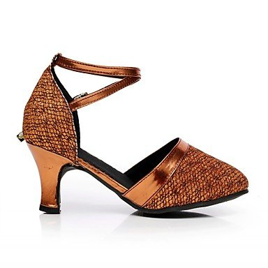 Scarpe da ballo-Personalizzabile-Da donna-Moderno-Tacco su misura-Brillantini-Marrone / Viola / Grigio / Dorato Brown