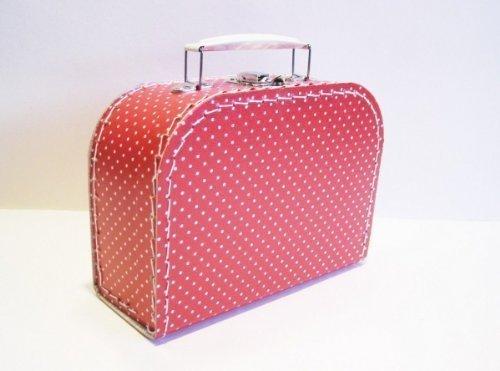 Koffer Pappe, rot + kleine weiße Punkte, mittel, 20cm, Pappkoffer