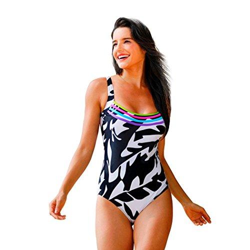 SUCES Damen Strand Badeanzug Sommer Bademode Neckholder Rückenfrei Schwimmanzug One Piece Swimsuit Elegant Figurformend Monokini Frauen Sommer Sportlich Tankini Strandkleidung (XL, Black) (Bustier Bogen Set)