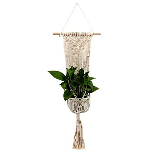 Fangfeen Vintage Bohe Makramee Blumentopf hängenden Seil Wandbehang Art Home Dekoration Blume Blumentopf Korb-Halter -