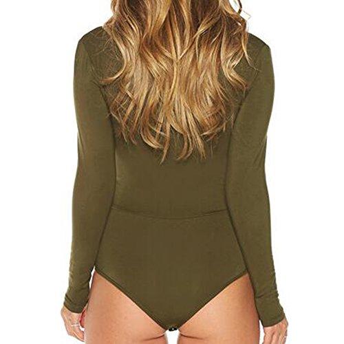 Donna Bodycon Tuta Sexy V collo fasciatura manica lunga Stretch Leotard Bodysuits Highdas Army Green