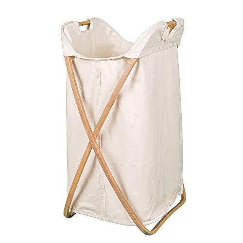 LJXiioo Falten Wäschekorb, waschbar Baumwolle Canvas Liner, hergestellt aus natürlichem Bambus -