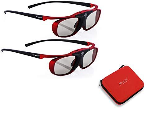 2X Hi-SHOCK® RF / BT Pro Scarlet Heaven & Dualcase  Aktive 3D Brille für 3D TVs von Sony, Samsung, Panasonic   komp zu TY-ER3D5ME / TY-ER3D6ME / FPT-AG03G [120 Hz   Bluetooth   wiederaufladbar]
