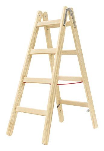 HYMER Holz-Sprossenstehleiter, 2 x 4 Sprossen, 7141008