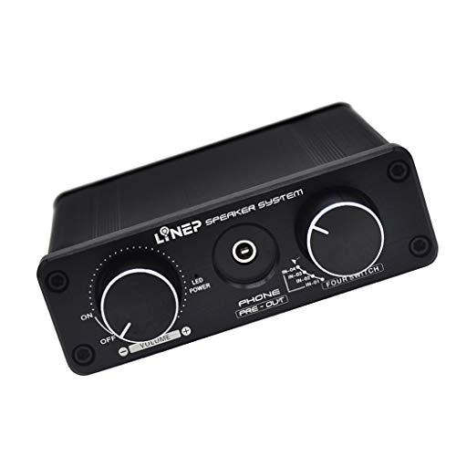 P Prettyia 4-in 2-Out Vorverstärker Spieler Signal Audio-Signalverstärker mit AUX-Eingang und Lautstärkeregelung Aux-audio Switcher