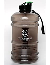Sport Trinkflasche 2,2 Liter, inklusive Trageband, Flip Cap Verschluss, Ideal für Fitness, Crossfit, Outdoor und Büro, Wasserflasche groß, gym bottle, WOLFPACK FITNESS, BPA FREE